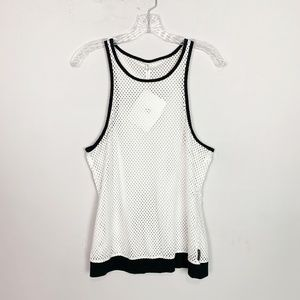 Fabletics white & black mesh athletic tank top M